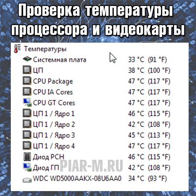 Проверка температуры процессора и видеокарты